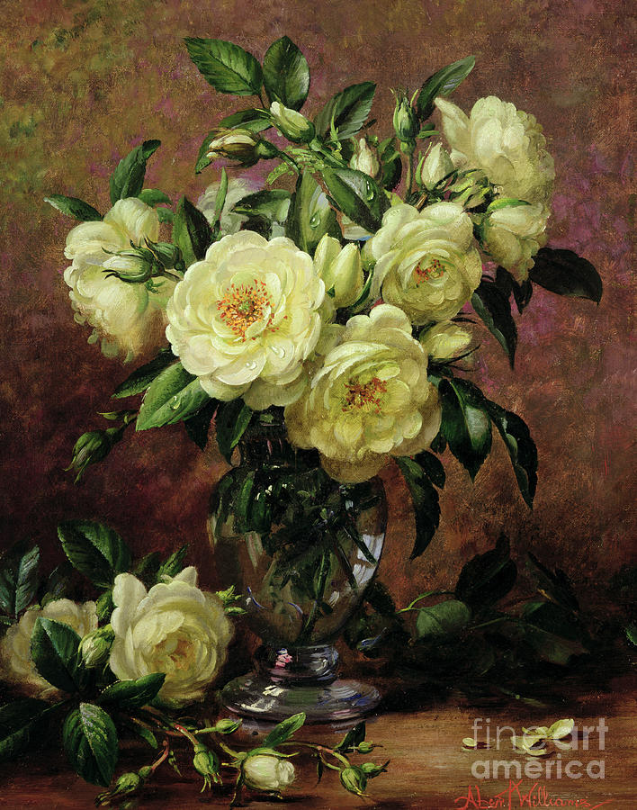 Still Life Painting - White Roses - A Gift From The Heart by Albert Williams