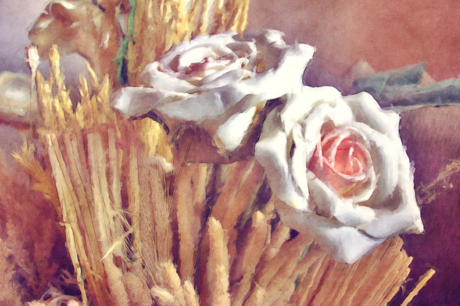 White Rose Digital Art - White Roses by BONB Creative