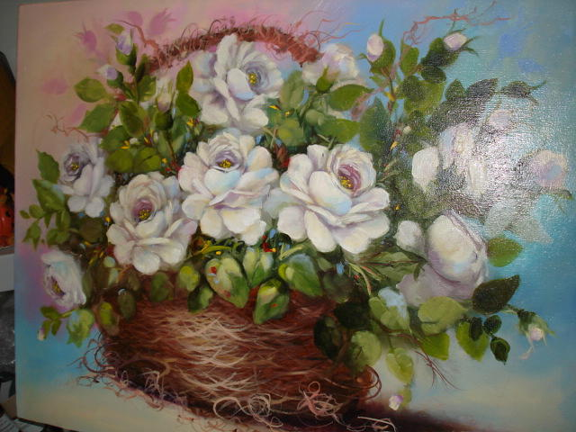White Roses Painting - White Roses In Basket by Catherine Amendola