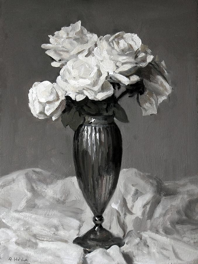 White Roses In Fluted Silver Vase Painting By Robert Holden