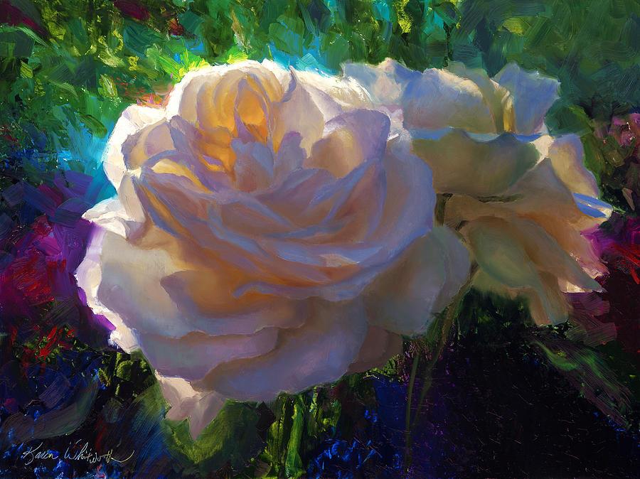 White Roses Painting - White Roses In The Garden - Backlit Flowers - Summer Rose by Karen Whitworth