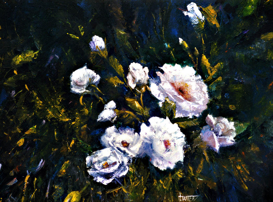 Flowers Painting - White Roses by Jimmie Trotter