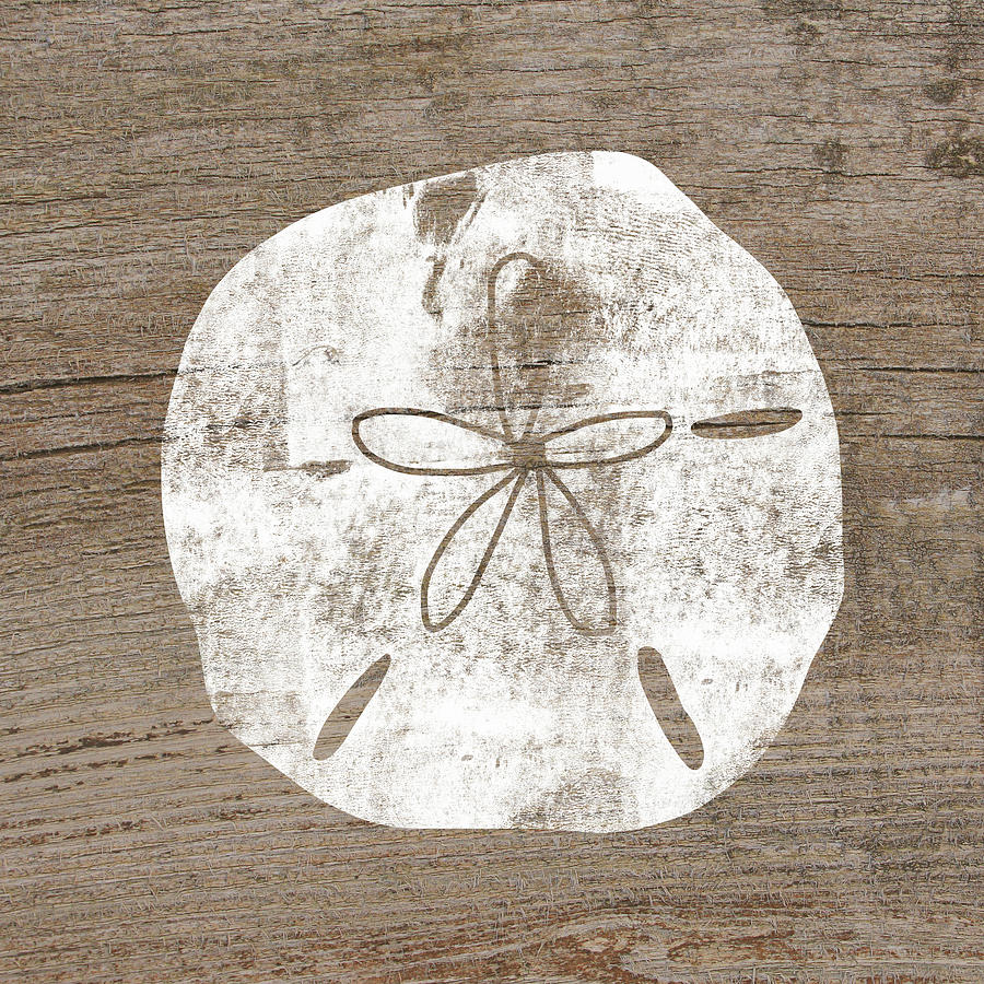 Wood Mixed Media - White Sand Dollar- Art By Linda Woods by Linda Woods