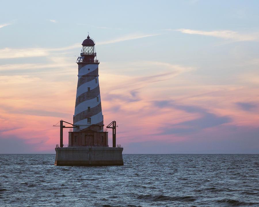 White Photograph - White Shoal Lighthouse At Sunset by Kimberly Kotzian