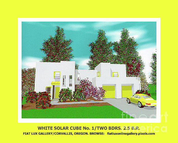 Architect Drawing - White Solar Cube Number One by Michael Moore