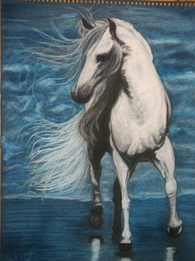 Horse Pastel - White Spirit by Angela BZ