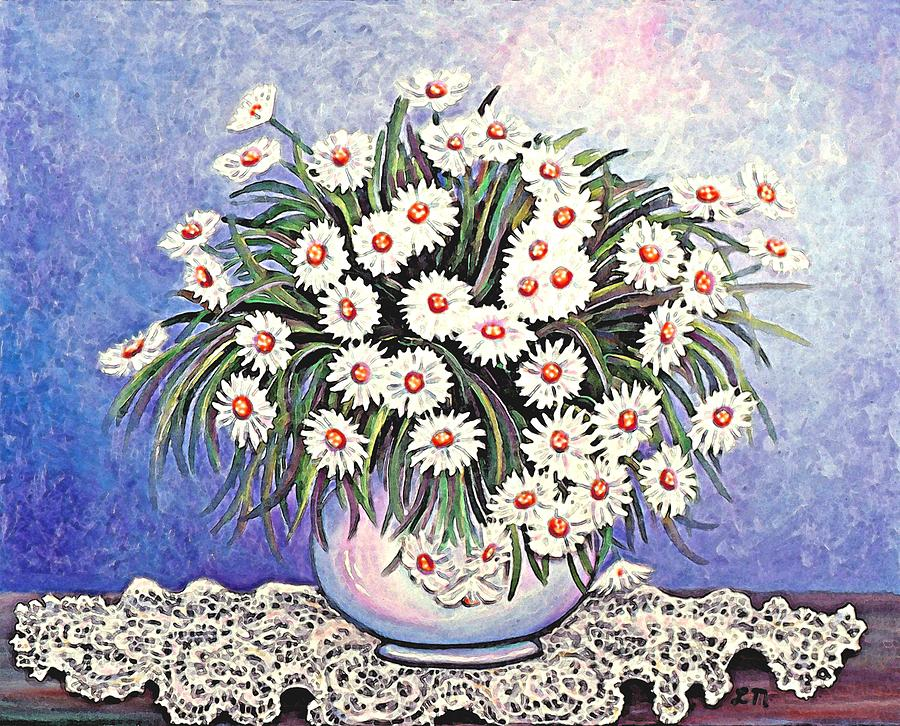 Flower Painting - White Straw Flowers Two by Linda Mears