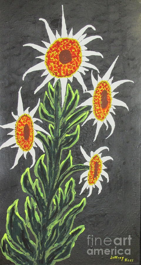 Sunflower Painting - White Sunflowers by Jeffrey Koss