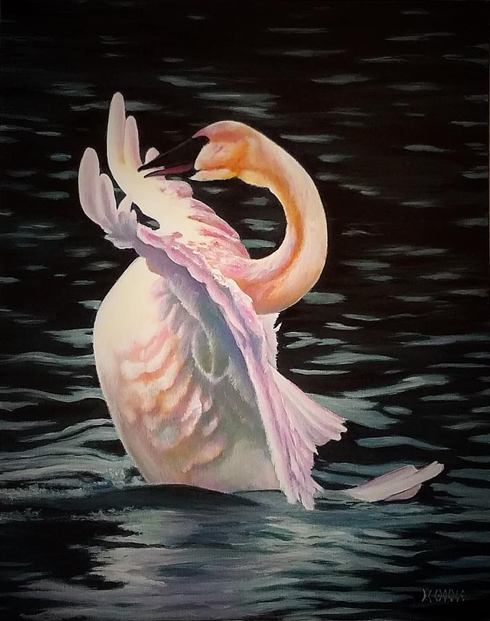 Nature Painting - White Swan by DC Houle