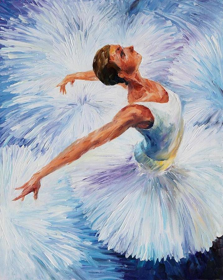 Afremov Painting - White Swan by Leonid Afremov