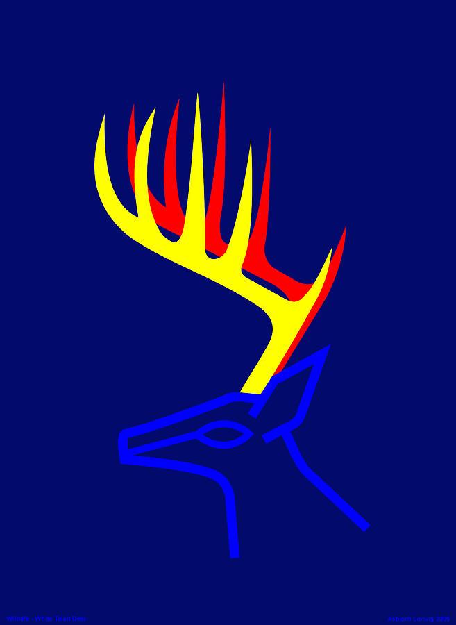 White Taled Deer Digital Art by Asbjorn Lonvig