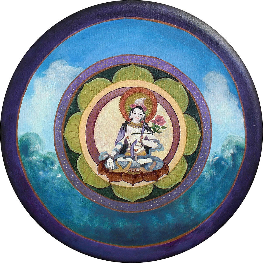 Tara Painting - White Tara Mandala by Jo Thompson