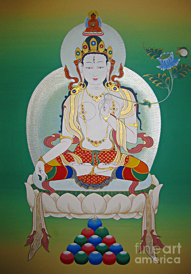 Thangka Painting - White Tara by Sergey Noskov