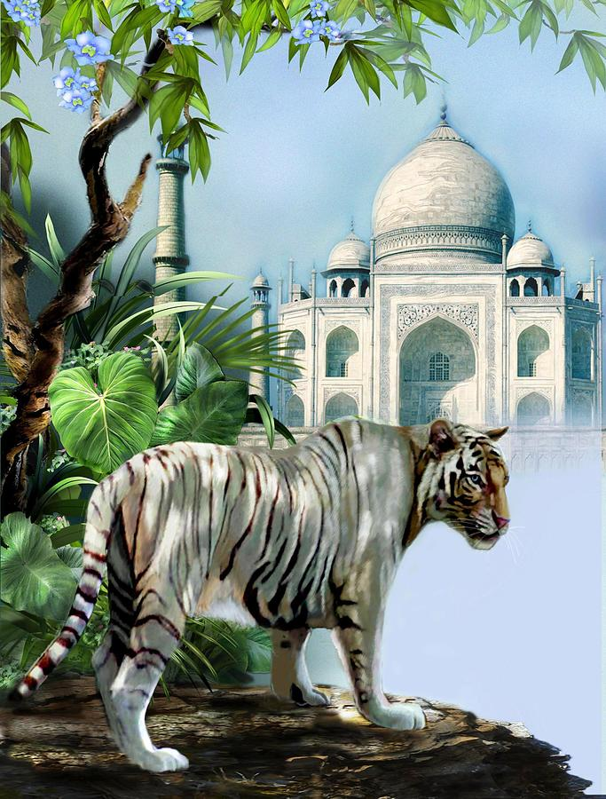 Travel India Painting - White Tiger And The Taj Mahal Image Of Beauty by Regina Femrite