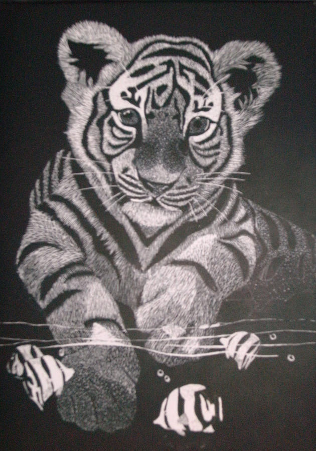 Tiger Mixed Media - White Tiger by Chris Hedges