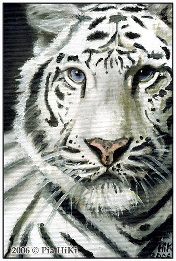 Tiger Painting - White Tiger by Pia HiKi