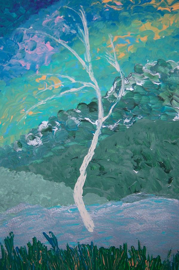 Landscape Painting - White Tree by Helene Henderson