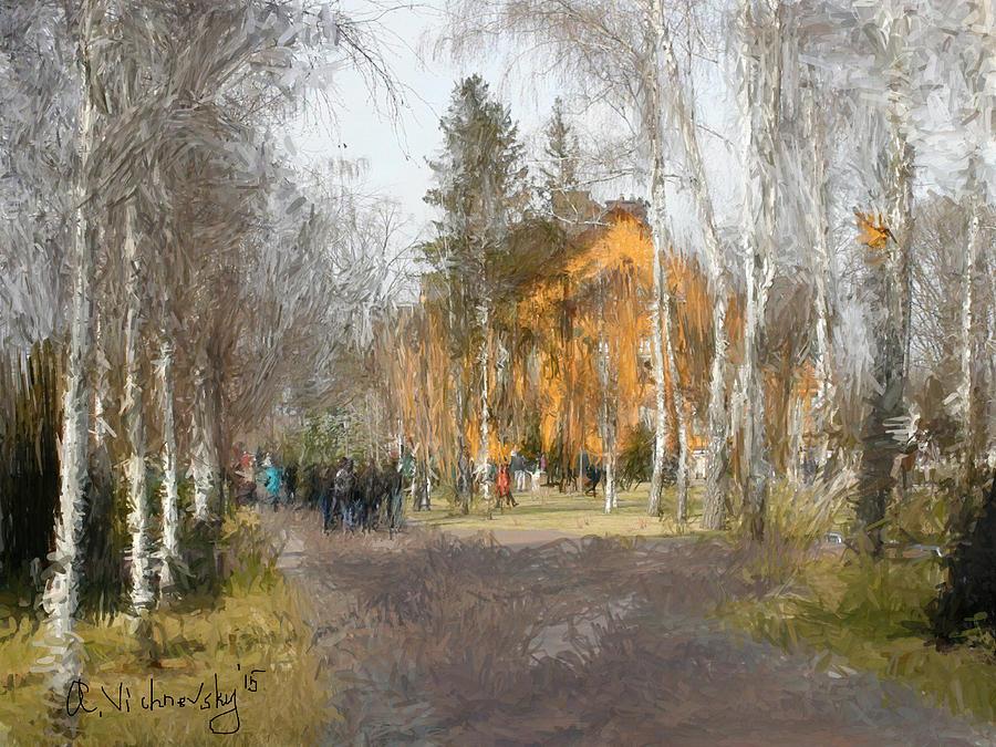 Landscape Painting - White Trees And Honka by Alexander Vishnevsky