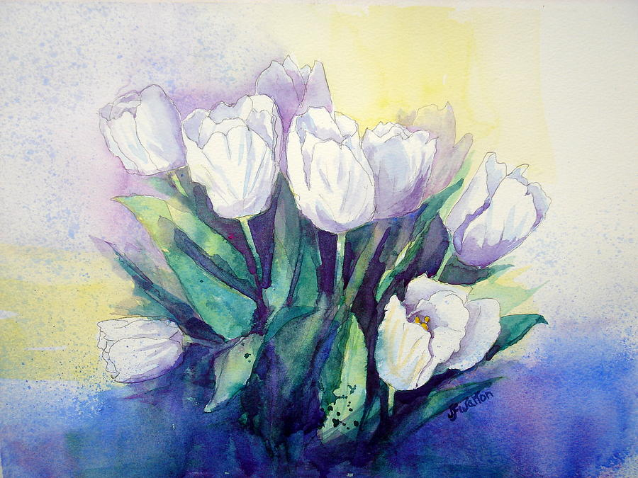 White Tulips Painting - White Tulips by Judy Fischer Walton
