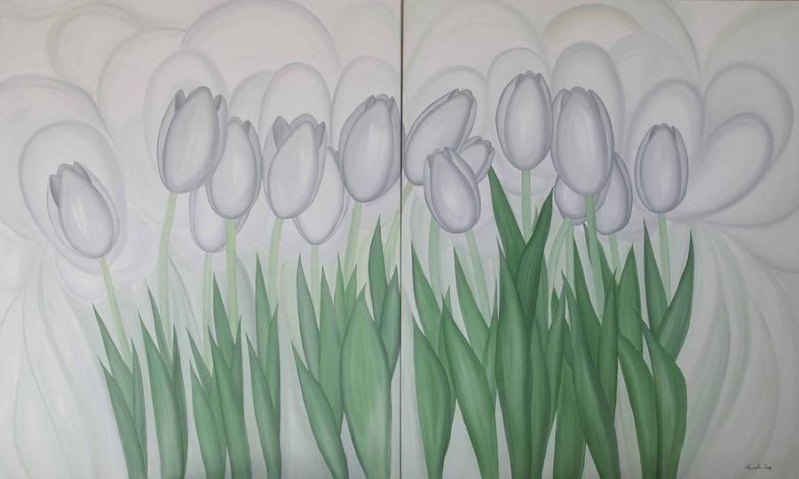 Flower Painting - White Tulips  by Marinella Owens