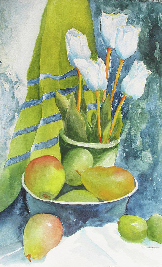 Still Life Painting - White Tulips by Mary Blumberg