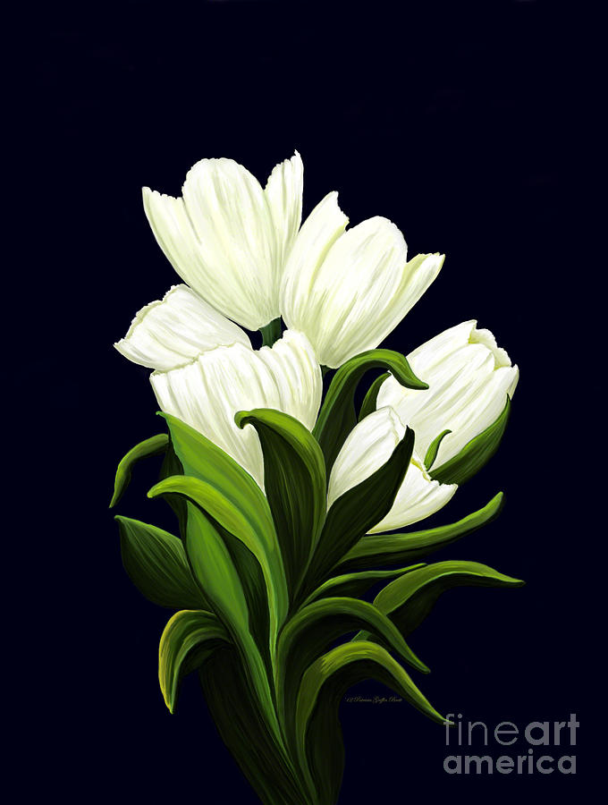 Mixed Media Painting - White Tulips by Patricia Griffin Brett