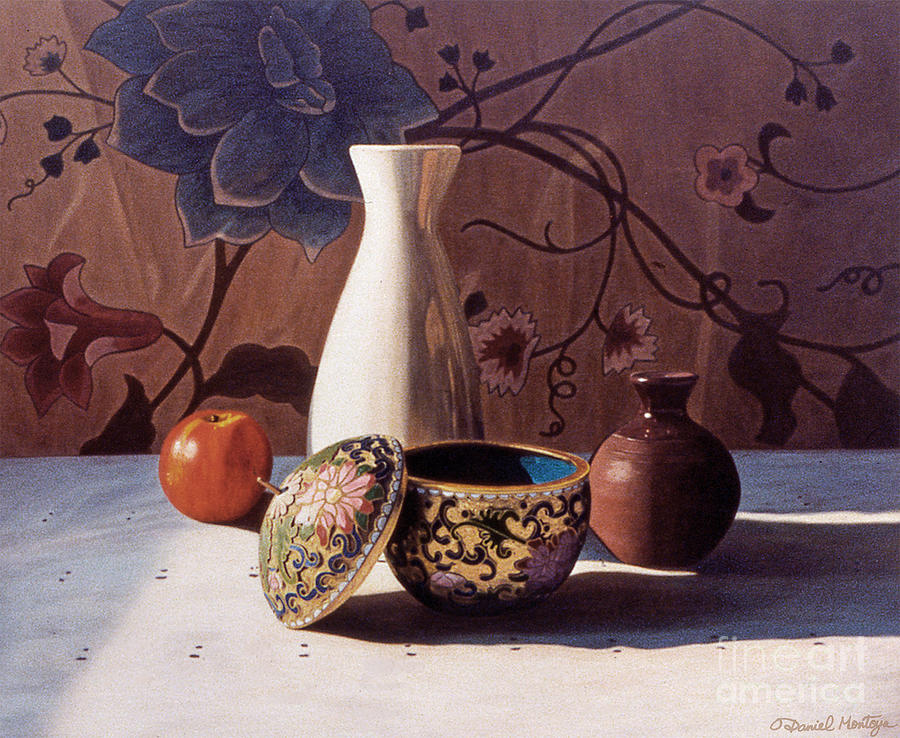 Painting Painting - White Vase And Enamel Pot by Daniel Montoya
