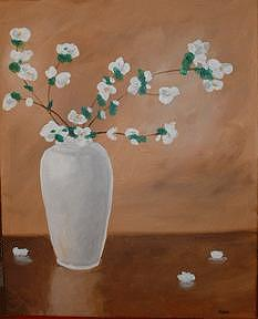 White Vase Painting by Cyndee Bessant