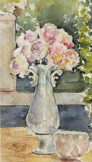 Flowers Painting - White Vase by Maria Tepper