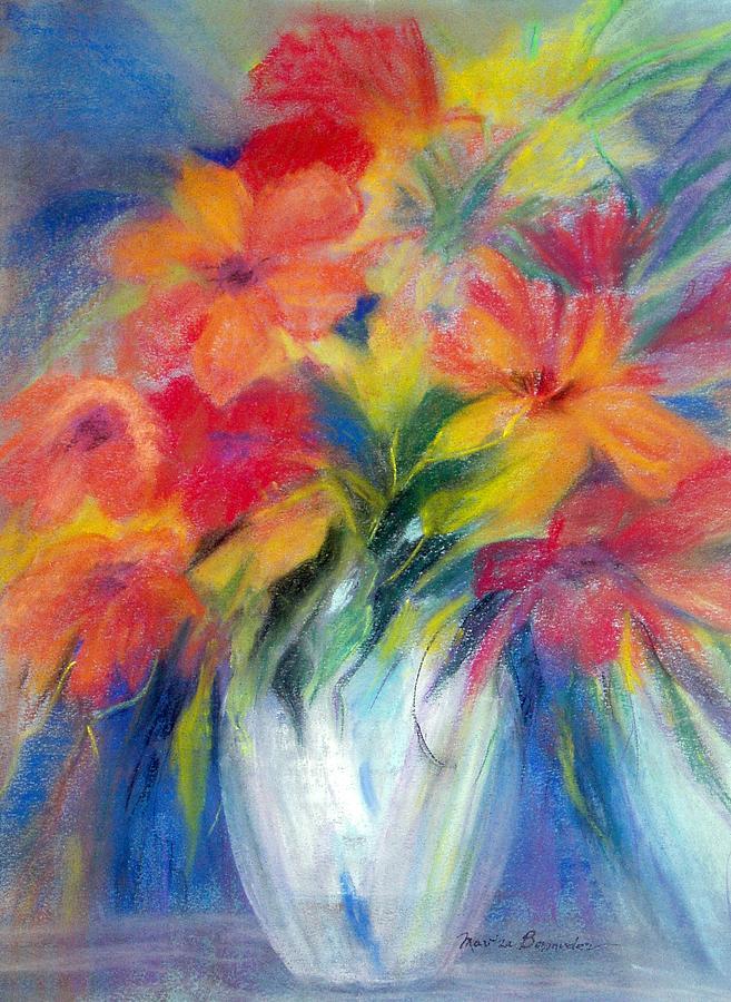 Flowers Painting - White Vase by Maritza Bermudez