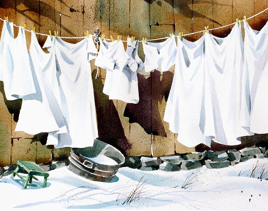 Hanging Sheets Painting - White Wash by Art Scholz