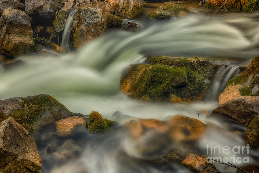 White Water And Mossy Rocks Hdr Photograph