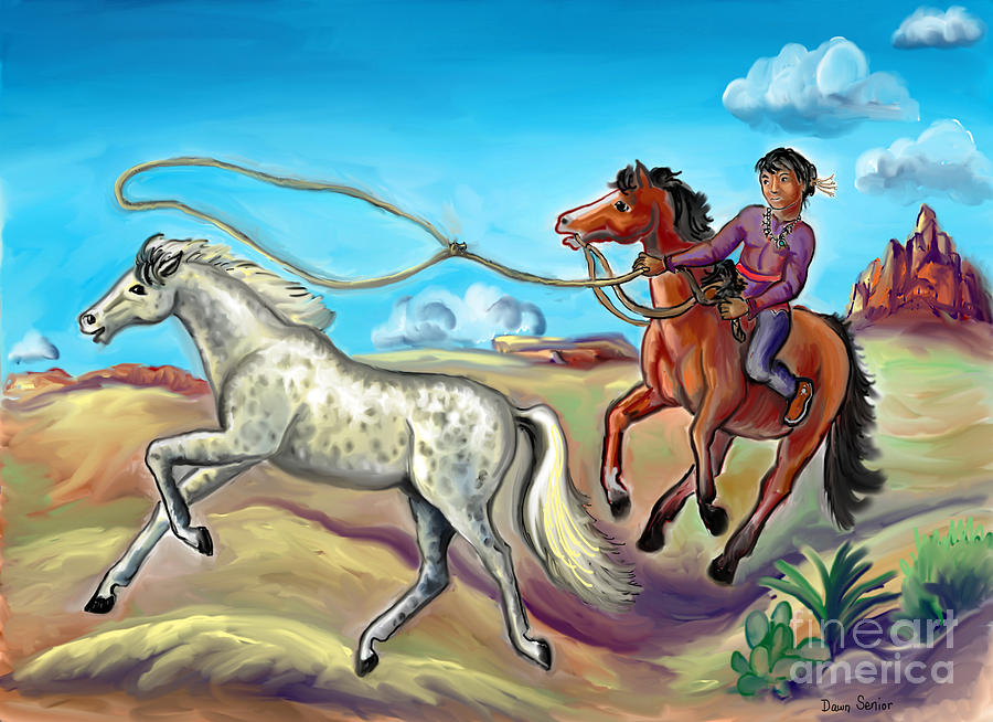 White Wind and Knotty Whiskers - story illustration - age 12 by Dawn Senior-Trask
