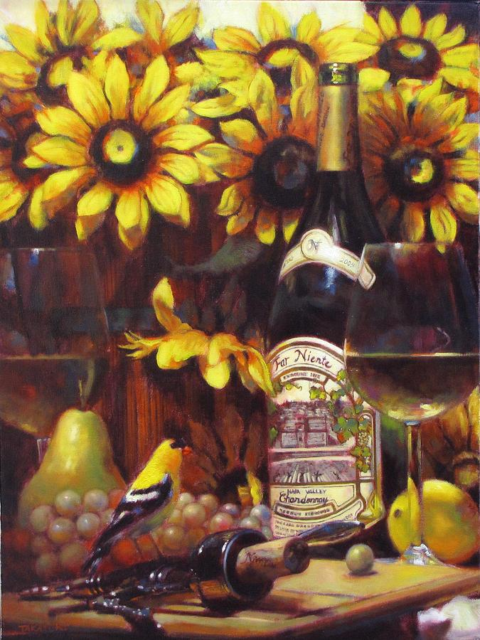 Wine Grape Painting - White Wine And Gold Finch With Sun Flower by Takayuki Harada