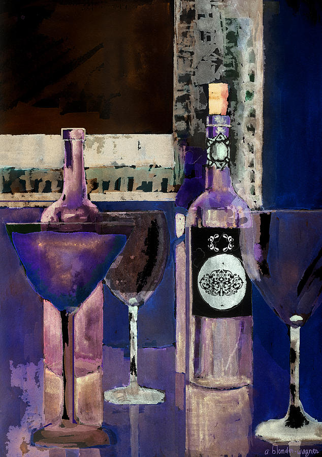 Wine Painting - White Wine Inverted by Arline Wagner