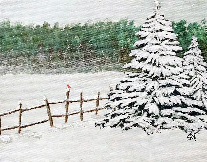 Landscape Painting - White Winter by Sheri Doyon