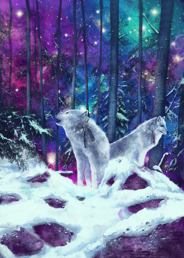 Wolf Painting - White Wolves by Bekim M