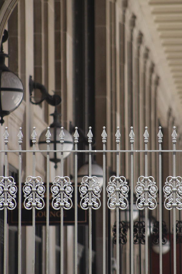 Union Station Photograph - White Wrought Iron Gate In Chicago by Colleen Cornelius