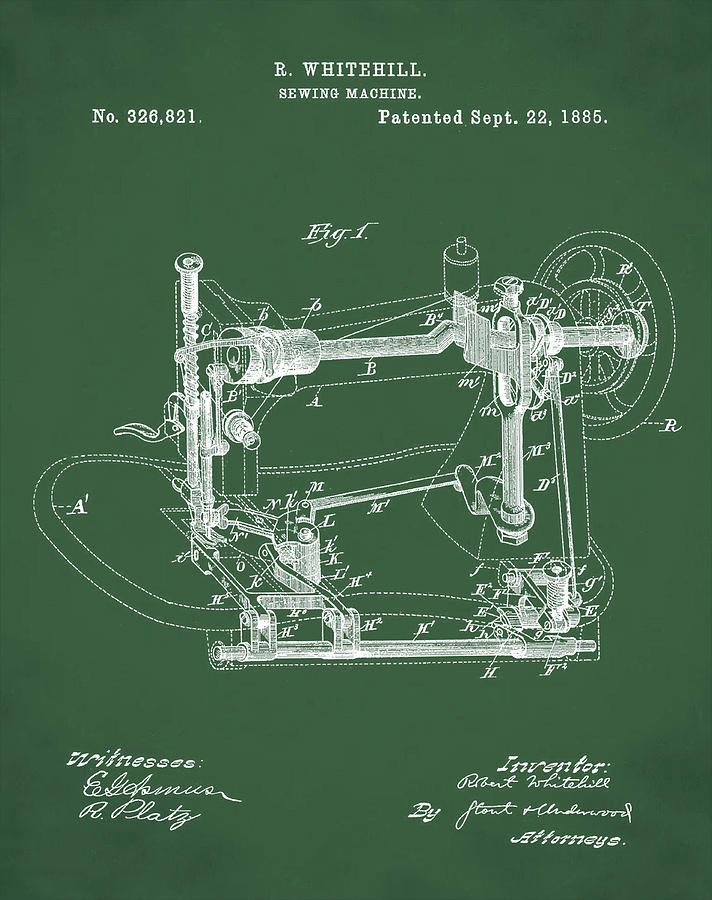 Whitehill Sewing Machine Patent 40 Green Photograph By Bill Cannon Adorable Patent For Sewing Machine