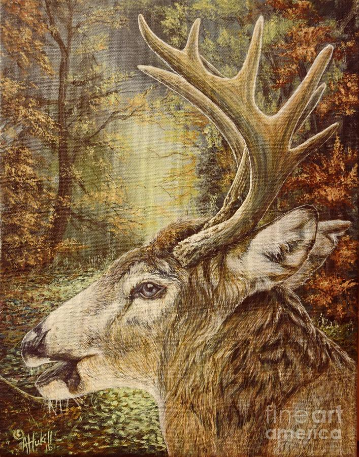 White Tail Painting - Whitetail Hideaway by Amanda Hukill