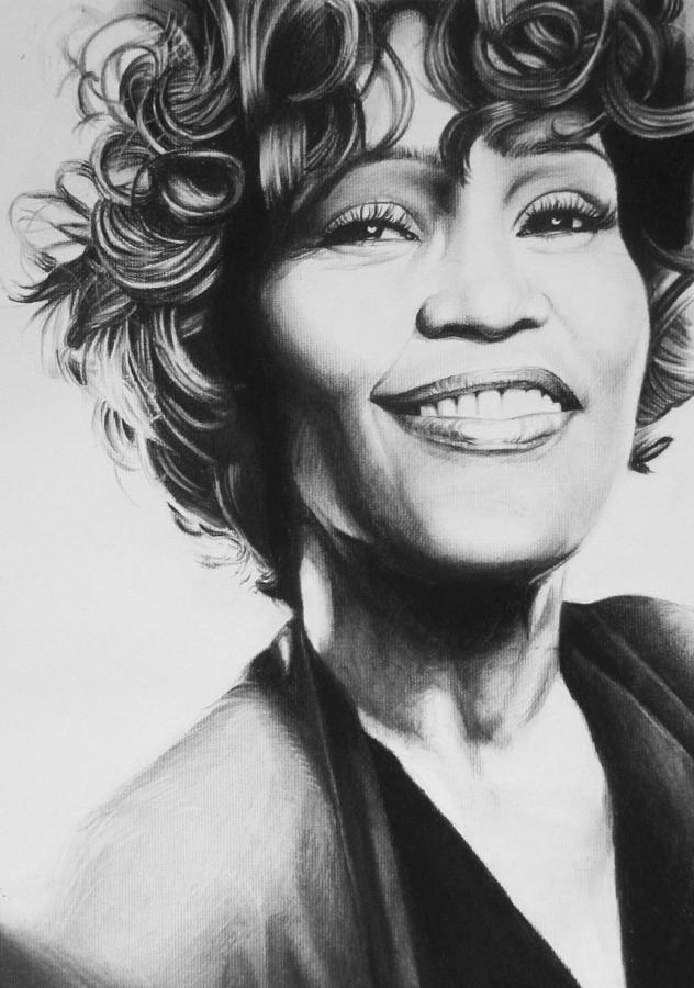 Whitney Houston Drawing By Steve Hunter