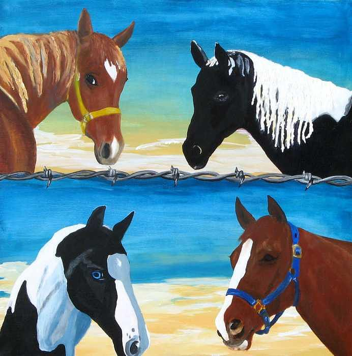 Horses Painting - Whiz Harley Shiloh And Tamslyn by Kitty Schwartz