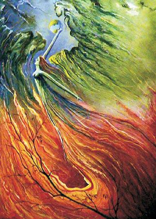 Who Is Turning Over The Seasons Painting by Alireza Vataniman