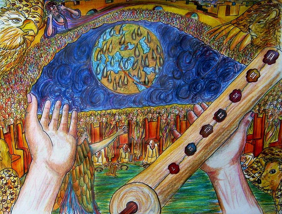 Revelation Drawing - Who Is Worthy To Open The Book by Richard  Hubal