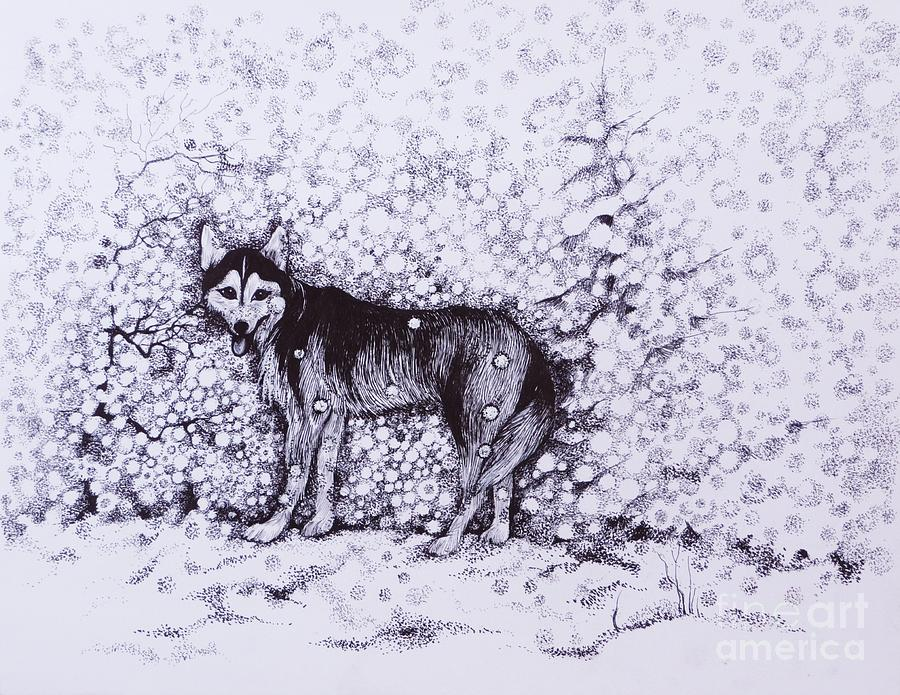 Pen And Ink Drawing - Who Likes Snow Day by Anna  Duyunova