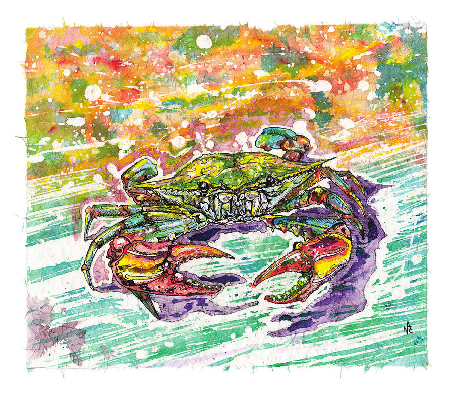 Blue Crab Painting - Who Would Eat Me by Nick Cantrell