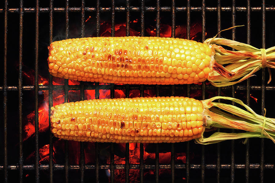 Corn Photograph - Whole Corn on grill by Johan Swanepoel