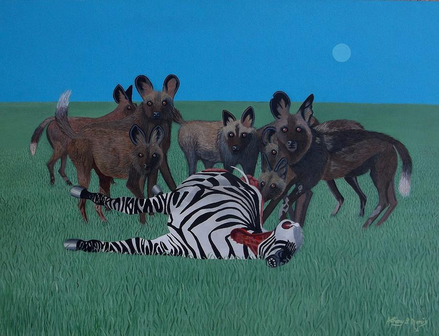 Zebra Painting - Whos Next by Anthony Morris