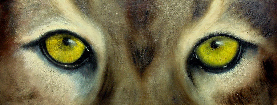 Eyes Painting - Whos watching who...Florida Panther by Darlene Green