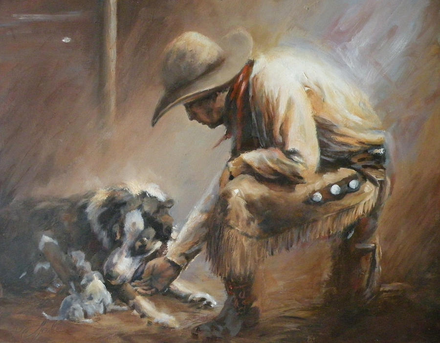 Cowboys Painting - Whos Your Daddy by Mia DeLode